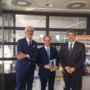 Mr Giuseppe Oliviero (left one) Vice President SMEs Academy Avignon - H.E. Italian Ambassador by EU Giovanni Pugliese (in the centre), Mr Gkofas Panagiotis President SMEs Academy Avignon